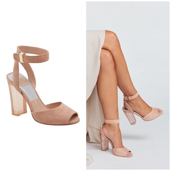 16a552ef030 Peach Nude Suede Acrylic Transparent Block Heels